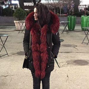 Real Bordeau Fox Fur Black Parka size S/M